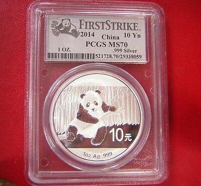2014 China 10 Yn Panda Silver First Strike PCGS MS70