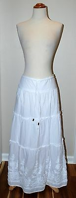 Jones New York Sport White Linen Cotton Maxi Skirt Long Hippie Boho Sz 12