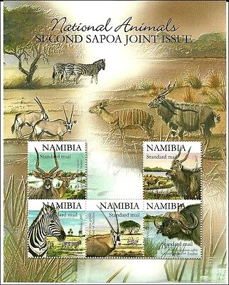 Namibia 2007, SAPOA issue, animals,  Tiere,  m/s, with silver inscription mint