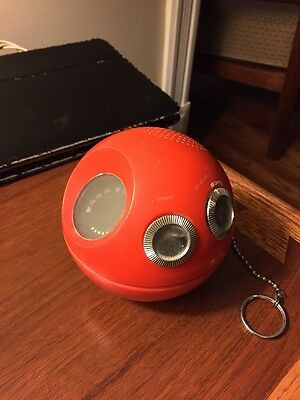 Vintage Panasonic Panapet  Red 70's AM Model Ball Radio With Chain