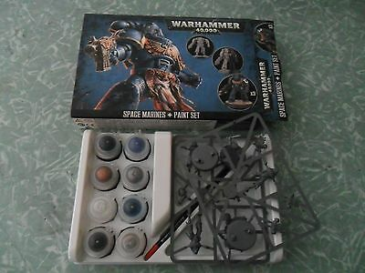warhammer 40k space marine + paint set new