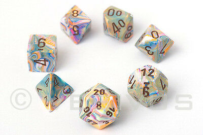 DICE Chessex FESTIVE VIBRANT Set d20 Colorful White Pink Orange Marble 27441