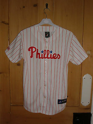 PHILLIES BASEBALL Majestic white pinstripe button shirt Youth Size Age 14-16 VGC