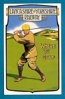 Lancashire & Yorkshire Railway Poster Postcard: Where To Golf ~ Dalkeith 70s/80s
