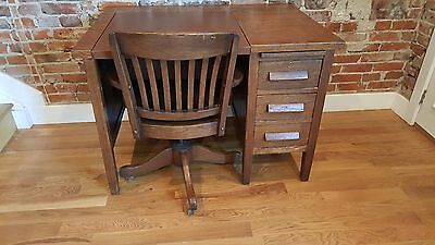 Antique Vintage Oak Wood Typewriter Desk and Swivel Chair