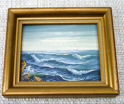 "Vintage Miniature Dollhouse Oil Painting Ocean Sea Framed 3.5"" Wall Picture Art"