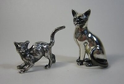 Lot 2 Sterling & 800 Silver Cat Figurines Siamese? Sitting & Arched Back