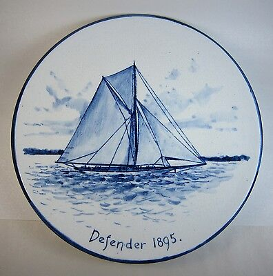 Antique 1895 America's Cup DEFENDER Yacht Blue & White Volkmar Plate
