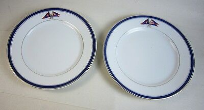 2 Antique BREAD PLATE New York Yacht Club & Fred Thurber Sachem China Porcelain