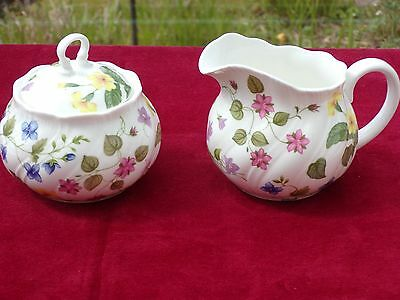Queens Pottery country meadow sugar bowl and milk jug