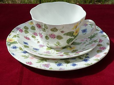 "Queens pottery country meadow trio large teacup saucer and 8"" side plate no 6"