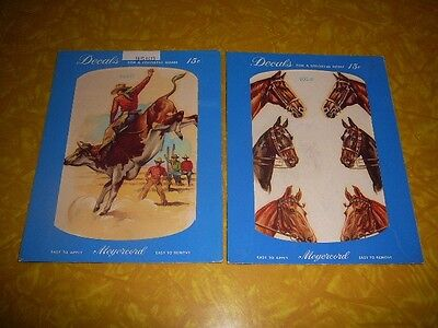 2 MEYERCORD DECALS COWBOY ON BULL & HORSES ca 1940's OR 1950's #900B & 956D