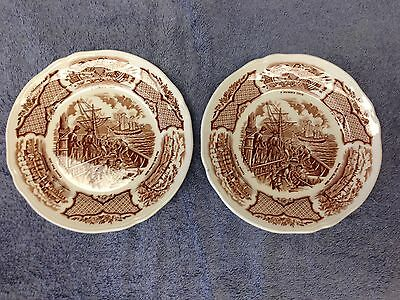 "ALFRED MEAKIN FAIR WINDS BROWN Old China  (2)  7""  Plates in Very Good Condition"