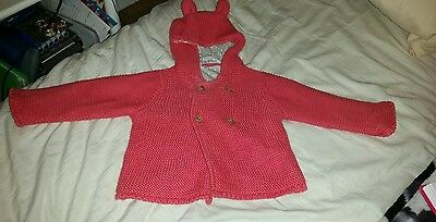 Baby Girls Pink Hooded Coat From Marks And Spencer - Size 3/6 Months