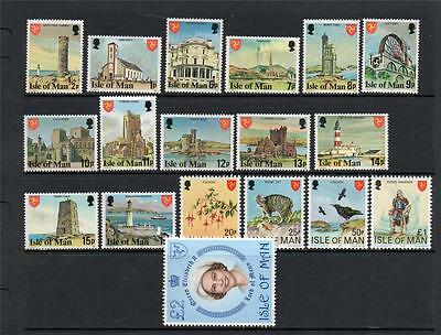 Isle Of Man Mnh 1978 Sg111-128 Definitive Complete Set