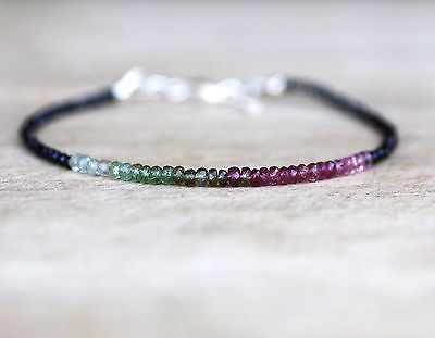 Natural Black Spinel & Watermelon Tourmaline Bracelet Sterling Silver 8th Annive