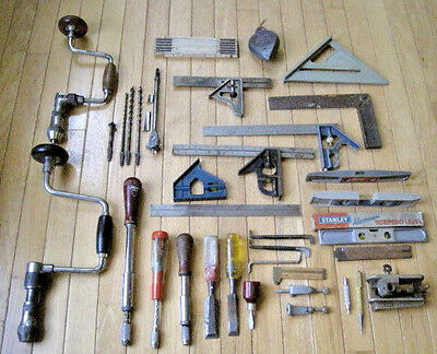 Large Lot of STANLEY Woodworking Tools - Squares, Braces, Bits, Levels & More