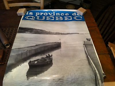#12-25  vintage poster  22  x 34  travel poster quebec canada  lakes rivers