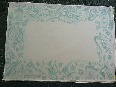 Vintage Placemats  Madeira Pink Linen George Briard Birds folk set of 4 table