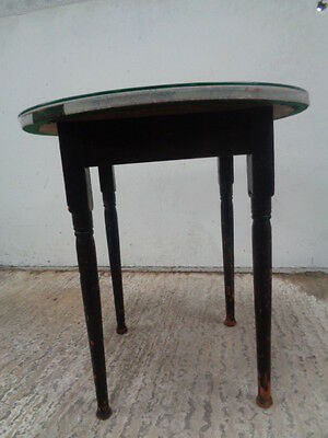 vintage round glass topped poker games  table