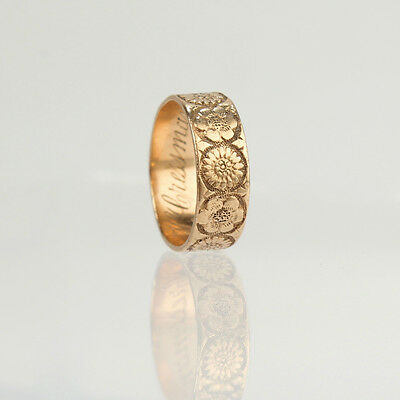 Antique Victorian 14K Floral Decorated Ring - Size 2.5 Child or Toe Ring - VR