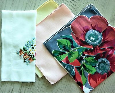 Four Vintage Ladies Handkerchiefs Incl 1 Embroidered