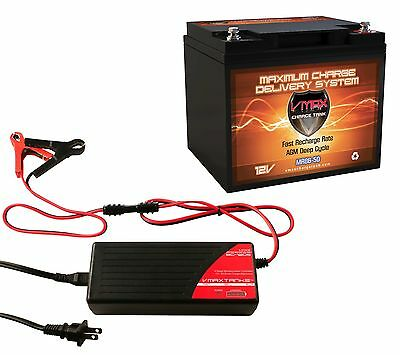 VMAX MR86-50 + BC1205A CHARGER 12V BATTERY AGM 50Ah  FOR 18-50 LB TROLLING MOTOR