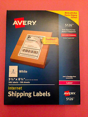 Avery® 5126 White Laser Internet Shipping Labels 5 1/2 x 8 1/2, 200 Labels