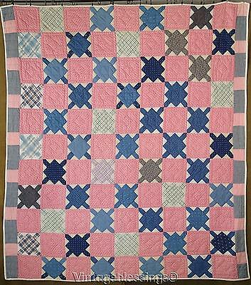 "Lovely Pattern Indigo Blue & Pink c1880 Later Quilted QUILT 80"" x 70"""