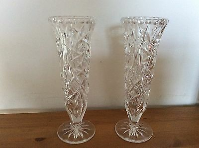 Pair Of Cut Glass Type Vases