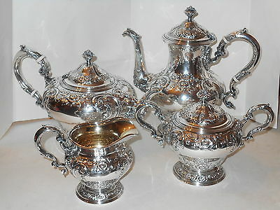 Antique Birks Handchased Sterling Silver 4 Piece Teaset,teapot,etc. 3416G