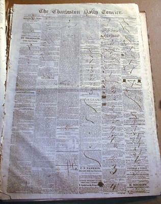 5 original 1859 Charleston SOUTH CAROLINA newspapers just before the Civil War