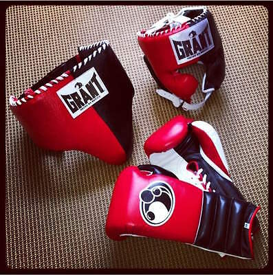 GRANT BOXING eBay Store - AUTHENTIC Pro Training Set (16 oz Lace ups) - (Red)