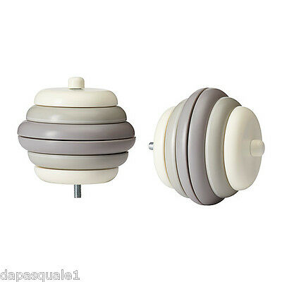 IKEA UTHALLIG - Set of 2 Finials Create your own Design White Gray Round