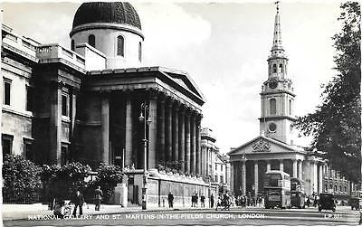 London,national Gallery & St.martins,early Rp Postcard.