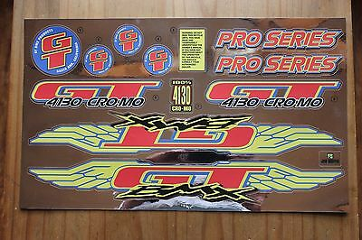 Reproduction 1996 GT Pro Series BMX Decal Set - Chrome Backing
