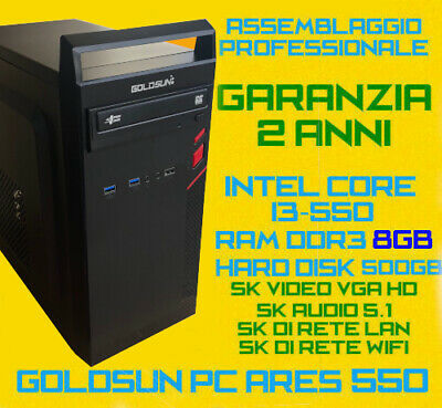 COMPUTER ASSEMBLATO PC FISSO DESKTOP INTEL Core i3-550 RAM 8GB HDD 500GG DVD-RW