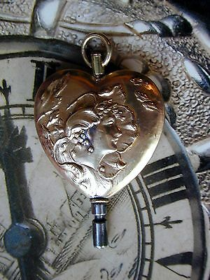 Pocket Watch Key Stunning Vintage Detailed Embossed Bronze Nouveau Lady.