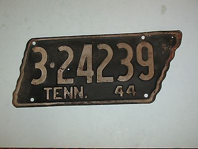 Original 1944 Tennessee License Plate ~ 3-24239 ~ Knox County ~ State Shape