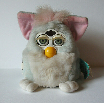 "Furby Babies 1999 original blue white pink baby 6"" electronic Tiger with tags"