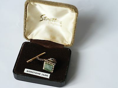 Vintage gold tone tie pin clips Stratton England Jade Gemstone Boxed