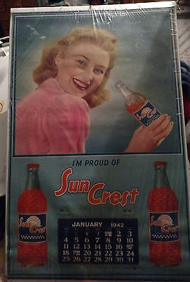 "VINTAGE advertising SUN CREST SODA 1942  CALENDAR lovely  26"" x 17"""