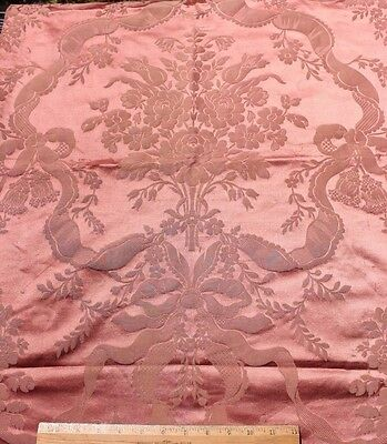 Antique 19thC French Pink Roses & Ribbons Patterned Silk Fabric c1880