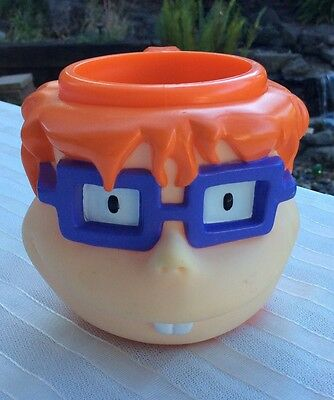 The Rugrats Cartoon Chuckie Mug~Applause Cup Figural Plastic Face D1