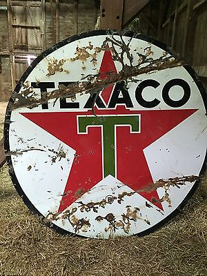 """Vintage Texaco 72"""" Double Sided Painted Metal Sign Gas Oil Service Station"""