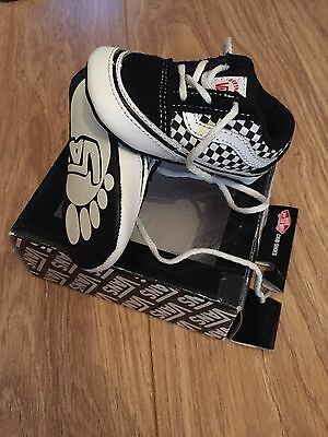 Vans Black And White Checkered Lace Up Crib Baby Shoes Size 4 6-9 Months