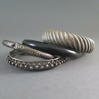 Group Of Four Chinese Silver, Glass, Ratan, Bangles