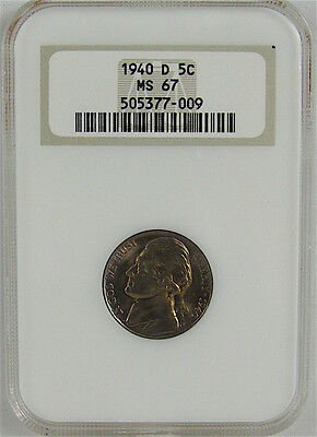 1940-D Jefferson Nickel Ngc Ms67 - Old Holder