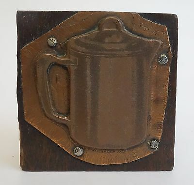 Letterpress Printing Block Vintage Copper On Wood Coffee Pot