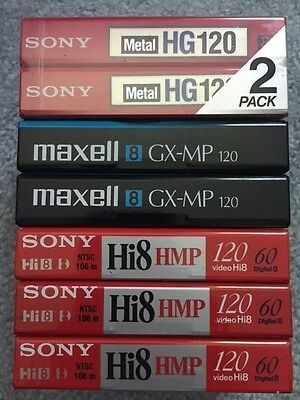 Lot of 7 TDK & Maxell Hi8 GX-MP Metal 120 Blank Sealed Camcorder Video Tapes 8mm
